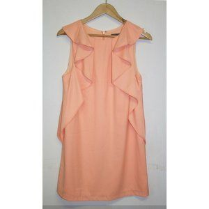 Sheike Shift Ruffle Dress Size 12 Peach Coral Sleeveless Cocktail Party